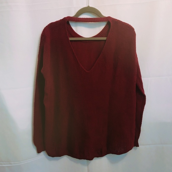 9339211226d567 Forever 21 Sweaters - Forever 21 Burgundy Open Back Sweater